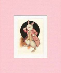 Lovely illustration by the much loved, Margaret Tarrant, a prolific English illustrator and friend of Cicely Mary Barker. She was popular during the 1920's and 1930's for her romantic depiction of children, fairies and animals.  Exceptionally lovely image of the White Rabbit in his pink top coat, fancy waistcoat and monocle. 'It was the White Rabbit, looking anxiously about as if it had lost something and muttering to itself, 'The Duchess, The Duchess, Oh my dear paws… Oh my fur and…