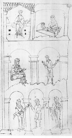 Top: Irad and his wife attended by a midwife; Center: Irad and his wife attended by a midwife; Bottom:  Lamech with his wives Adah and Zillah - Junius Manuscript - late 10th-early 11th century