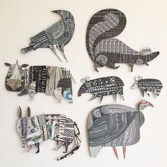 Keeping with my black and white theme today with some of my more monochrome cutout animals. Thinking maybe I should have chosen a more… Paper Collage Art, Paper Art, Paper Crafts, Black And White Theme, Cardboard Art, Arte Popular, Art Club, Art Plastique, Art Activities