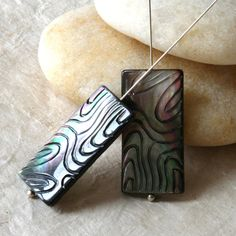 Awesome Carved Black Lip Shell Rectangle Beads (2 beads) Shell Beads 14x30mm