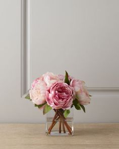 Pink Peonies in Glass Cube by Diane James at Bergdorf Goodman.