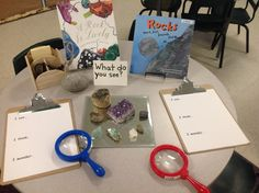 Rock Inquiry Provocation. Lots of other Reggio-inspired science and math provocations. (Living-Non-living, I see, I think, I wonder)