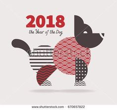 Dog is a symbol of the 2018 Chinese New Year. Design for greeting cards calenda
