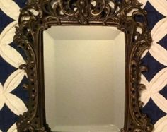 Vintage 1970s HEAVY Scrolled Hollywood Regency, Shabby Chic Mirrored Frame with Beautiful Beveled Mirror Wall Hanging -    Edit Listing  - Etsy