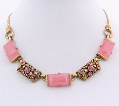 Selro Pink Rhinestone Lucite Necklace by EmbellishgirlVintage