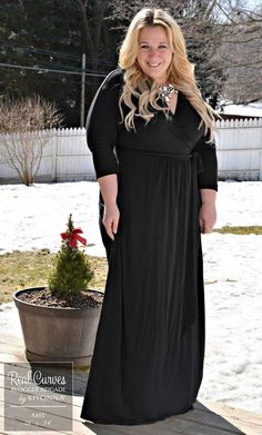 "Blogger Amy @FFFashion (5'4"" and a size 2x) braves the cold in style in our plus size Wrapped in Romance Dress.  www.kiyonna.com  #KiyonnaPlusYou  #MadeintheUSA  #OOTD  #Maxi"