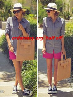 """""""Damsel in Dior"""" pink shorts + blue shirt + hat + blue converse style pumps Summer Wear, Spring Summer Fashion, Summer Outfits, Summer 2014, Converse Style, Cheap Converse, Blue Converse, Custom Converse, Converse Sneakers"""
