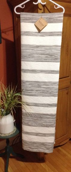 """New Handwoven French-Canadian Twin Blanket """"Catalogne"""" – oidis Crochet Motifs, Large White, Hand Weaving, My Etsy Shop, About Me Blog, Arts And Crafts, Stripes, Textiles, Quilts"""