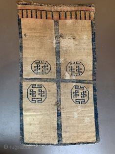 Door rug from Tibet. With some old repairs and holes. Basically in a weak condition as you can see from the pictures. But it is the rare and early type of . Door Rugs, Tibetan Rugs, Carpets, Devil, Conditioner, Doors, Type, Antiques, Pictures