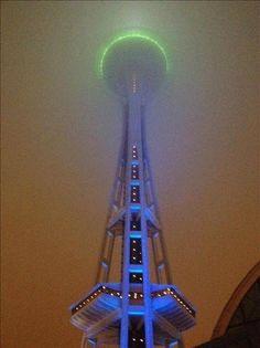 Space Needle in Seattle.  Blue & Green!  SEAHAWKS!