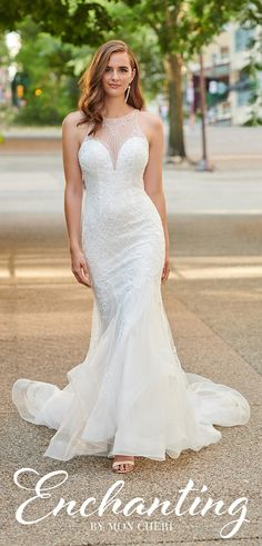 Enchanting by Mon Cheri 120165 Illusion Neckline, Bateau Neckline, Beaded Lace, Embroidered Lace, Bridal Gowns, Wedding Dresses, A Line Gown, Mon Cheri, Chapel Train