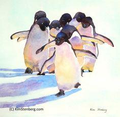 "Penguin Painting Original Watercolor Animal Painting ""Penguin Walk"" by KimStenbergFineArt $150"