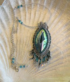 Seafoam Druzy Beaded Embroidery Pendant with Sterling Silver Chain