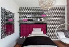 Pink accent black and white wallpaper interiors for bedroom