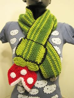 (Note from OakMonster- This is my coworker Mindy's store!) Super Mario Bros Inspired Piranha Plant Scarf crochet as featured on Geekologie.