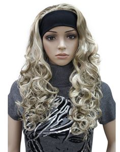 Kalyss Women's Long Curly Wavy Imported Heat Resistant Synthetic Blond Brown Hair Wig wiht Headband * See this great product. (Note:Amazon affiliate link)