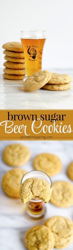 Honey Brown Ale Beer Cookies via @JennMeyering84