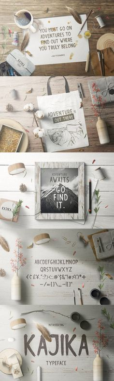 Kajika typeface is inspired by rough paint markers. This typeface is best used for designs that represent a bold and strong nuance. This typeface is also Fancy Fonts, Paint Markers, How To Find Out, Place Card Holders, Display, Painting, Design, Floor Space, Stylish Fonts