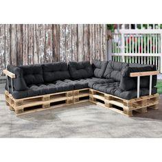 Palettenkissen - 11-teilig - Sitzpolster + Rückenkissen [dunkelgrau]…