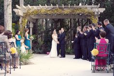 Yellow and Blue Ceremony: Beautiful Yellow Forsythia covered arbor by Andrea Layne Floral Design (www.andrealaynefloraldeasign.com)