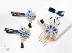 Girls kanzashi flower barrettes