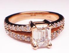 Pink Gold Emerald Cut Diamond Split Band Engagement Ring  & Matching Wedding Band Pink Wedding Rings, Wedding Matches, Wedding Shoes, Wedding Band, Wedding Stuff, Dream Wedding, Diamond Jewelry, Rose Jewelry, Jewellery