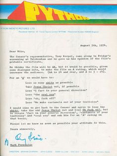 British censors letter sent to the Monty Python for the film Monty Python and the Holy Grail
