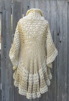 CROCHET CREAM PONCHO Cream Beige Shawl Turtleneck by marianavail