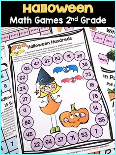 Halloween Hundreds Math Game for 2nd Grade from Halloween Math Games Second Grade - 14 printable math games for Halloween.