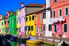 Colored homes in Burano - Venice Lagoon Islands Excursion