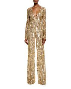 W0DYC Naeem Khan Sequined Long-Sleeve Wide-Leg Jumpsuit, Gold $8,990.00