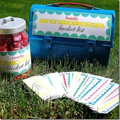 Print out these summer activity cards, then the kids take turns drawing out an activity each day, when it's their day to draw, they get a piece of candy from the jar as well!