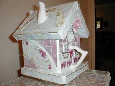 Teapot mosaic birdhouse, By Joy Harris