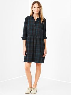 One of my new favorites in my closet. Great with black tights and black boots. Plaid shirtdress   Gap