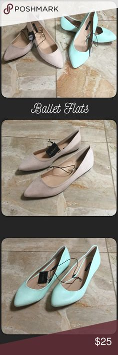🆕2 Pairs of Ballet Flats New with tags two pairs of ballet flats by Forever 21. Faux suede nude and faux leather mint. Size 6.5. Forever 21 Shoes Flats & Loafers