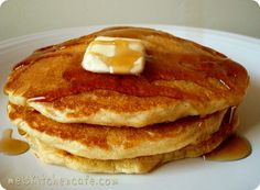 whole wheat oatmeal pancake mix (makes 10 batches of pancakes) - I added egg substitute to the mix, and then just added 1 c. soymilk (instead of buttermilk) when I was cooking them and they were great!