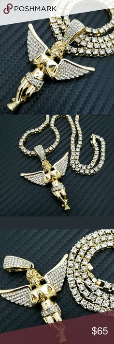 "14K GOLD  PLATED CHAIN 18"" Full Iced 1 ROW Hip Hop Baby Angel Pendant & 18"" Full Iced 1 ROW DIAMOND Tennis Choker Chain Set     HIP HOP CELEBRITY STYLE   BRAND NEW     1 Row Diamond Necklace :  Chain Length : 18""Chain Width : 4mmCOLOR: 14K Gold PlatedLab Simulated Diamonds    Baby Angel Pendant :  14K GOLD PLATED  SIZE OF PENDANT : 50mm x 42mm  Lab Diamonds on pendant Accessories Jewelry"