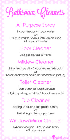 DIY Cheat-Sheet: All-Natural Bathroom Cleaner Recipes Homemade Cleaning Supplies, Diy Home Cleaning, Household Cleaning Tips, Bathroom Cleaning, House Cleaning Tips, Cleaning Hacks, Household Cleaners, Deep Cleaning, Chemical Free Cleaning