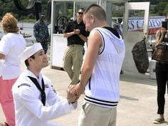 The Sailor who was finally able to propose to his boyfriend after a six-month deployment: | 22 Life-Affirming Photos Of Soldiers Coming Home From Deployment