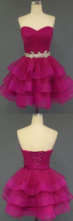 Cheap Prom Dresses, Short Prom Dresses, Prom Dresses Cheap, Cheap Short Prom Dresses, Prom Dresses Short, Cheap Homecoming Dresses, Short Homecoming Dresses Cheap, Prom Short Dresses, A Line dresses, Homecoming Dresses Cheap, A-line Homecoming Dresses, Fuchsia Homecoming Dresses, Short Party Dresses With Layered Sleeveless Mini