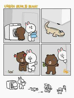 Brown et Cony Cute Couple Cartoon, Cute Couple Art, Cute Bear Drawings, Bear Gif, Cony Brown, Bunny And Bear, Cute Love Gif, Line Friends, Cute Comics