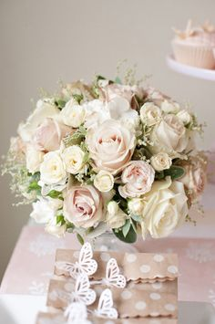 Blush and Cream Wedding Flowers Bouquet Wedding Desserts, Wedding Decorations, Wedding Cakes, Pink Dessert Tables, Pink Centerpieces, Table Flowers, Bride Bouquets, Bridal Flowers, Wedding Table