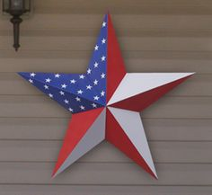 "36"" 3D Large Wood Star Pattern    This gorgeous 3D wooden star is so big it can be used to decorate an outdoor wall, fence or building. Paint it country colors or a patriotic theme as shown.    Our full-size pattern includes complete cutting, assembly and painting details. (36"" tall)"