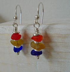 Triple Stacked Sea Glass Sterling Silver Earring by SeahamWaves