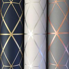 Metro Diamond Geometric Wallpaper – Charcoal and Copper – Diamant Geometrische Tapete Copper Wallpaper, Metallic Wallpaper, Modern Wallpaper, Designer Wallpaper, Teal Wallpaper Accent Wall, Grey And Gold Wallpaper, Easy Wallpaper, Gold Bedroom, Modern Bedroom