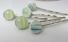 Pale Stripes Handmade Fused Glass Hair Pins Set by ArtBoxDesign, $13.00