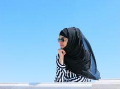 black  white hijab elegant style hijab fashion