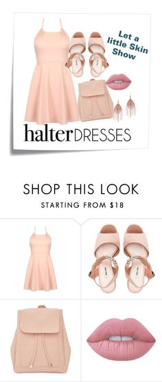 """""""Peach halter"""" by heysoulsistr ❤ liked on Polyvore featuring Post-It, Miu Miu, New Look, Lime Crime, Serefina and halterdresses"""