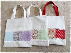 Clearance sale Book bag tote bag simple patchwork zakka style pink purple red flower