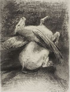 """Odilon Redon - The Impotent Wing Did Not Lift the Animal Into That Black Space, plate 7 of 8 from """"Les Origines"""", 1883, Lithograph in black on light gray China paper 